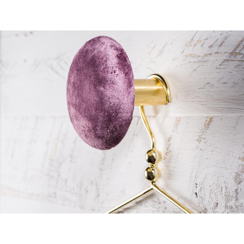 Cozy Living Helene Samt Kleiderhaken Garderobenknopf large groß 10cm Gape lila gold rund