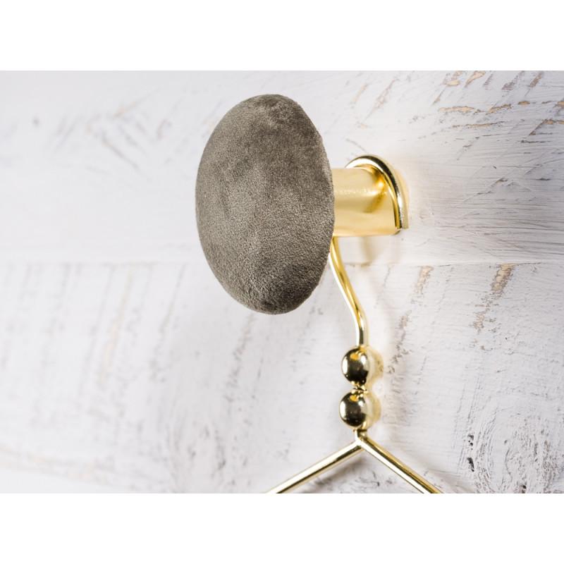 Cozy Living Helene Samt Kleiderhaken Garderobenknopf medium mittel 8cm Army gruen gold rund