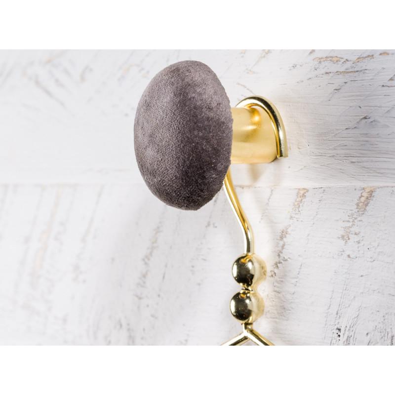 Cozy Living Helene Samt Kleiderhaken Garderobenknopf small klein 6cm Cole dunkelgrau gold rund
