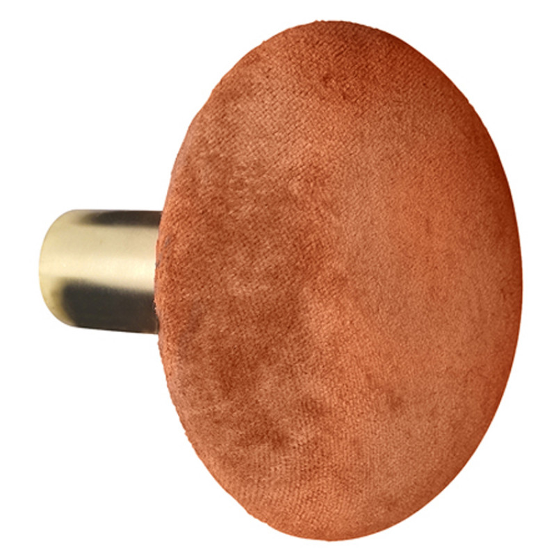Cozy Living Kleiderhaken Helene Gross Samt Knopf in Spice Orange 10 cm Durchmesser Vintage Garderobenhaken Gold