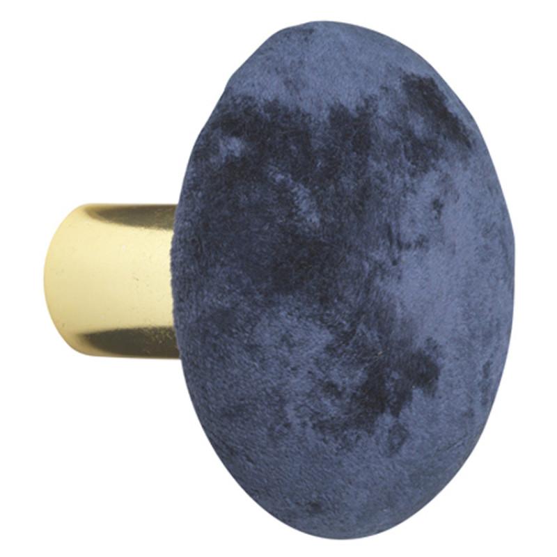 Cozy Living Kleiderhaken Helene Medium Samt Royal Blau gold 8 cm Durchmesser Garderobenhaken mittlere Größe in Dunkelblau