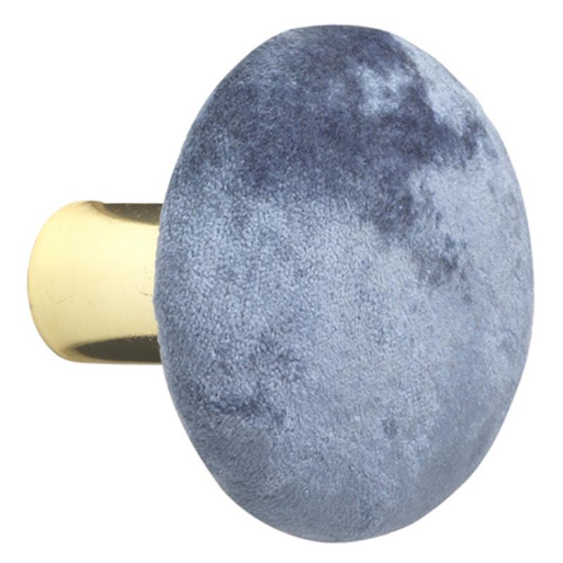 Cozy Living Kleiderhaken Helene Samt Meeresblau gold 6 cm Durchmesser Garderobenhaken Vintage in Blau