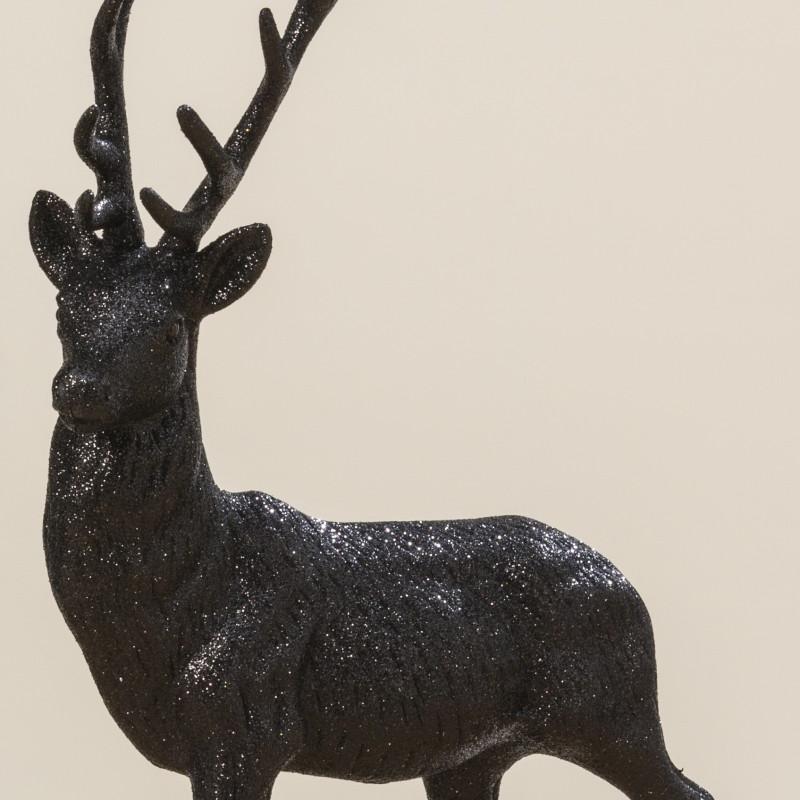 Deko Hirsch Schwarz Glaenzend Deko Figur Robert 40 cm mit Geweih Weihnachtsdeko Material Qualität und Hirschgeweih im Detail