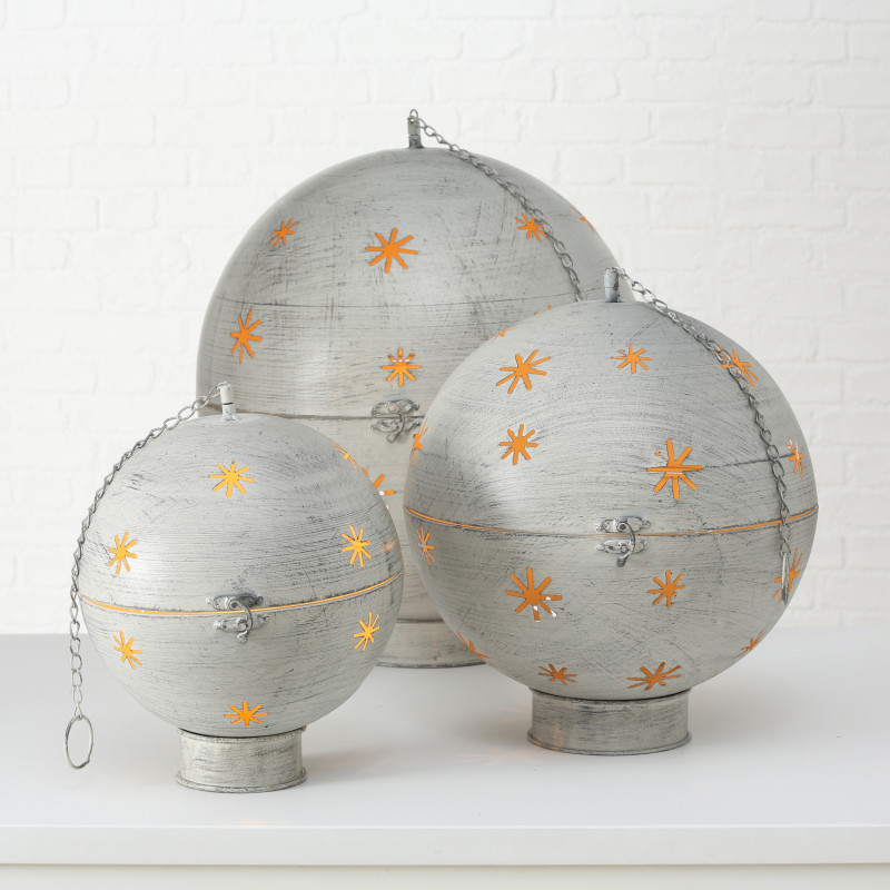 Deko Kugel GLORY mit LED Beleuchtung Metall Grau Weihnachtsdeko zum Hängen mit Kette Aufsteller 30 40 50 cm