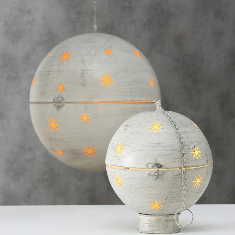 Deko Kugel GLORY mit LED Licht aus Metall in Grau als Hänger mit Kette oder Aufsteller mit ständer Weihnachtsdeko