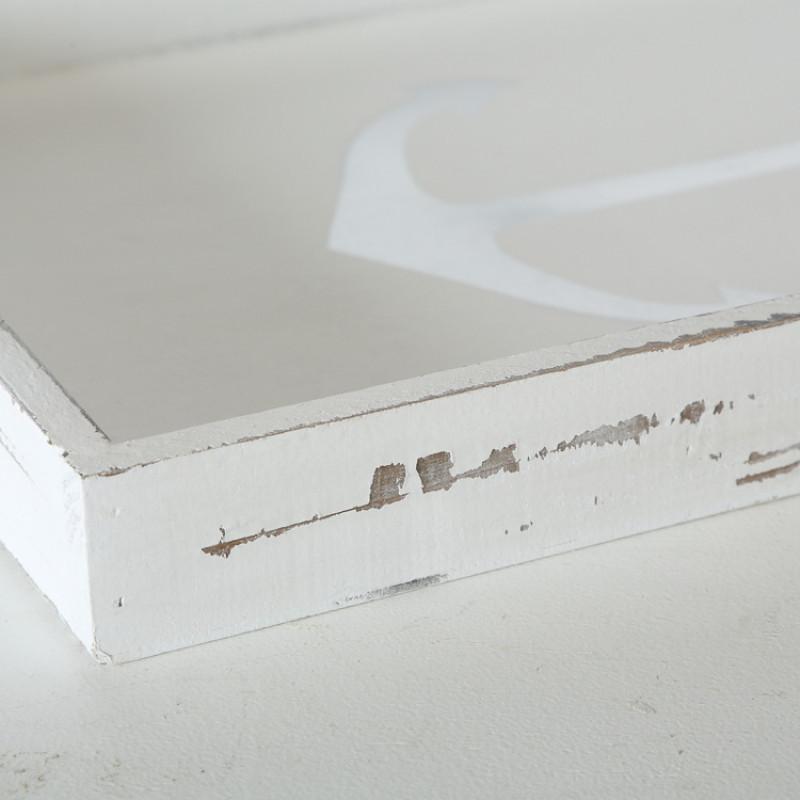 Deko Tablett ANKER Holz weiss Maritime Deko Ecke Detail Shabby Vintage