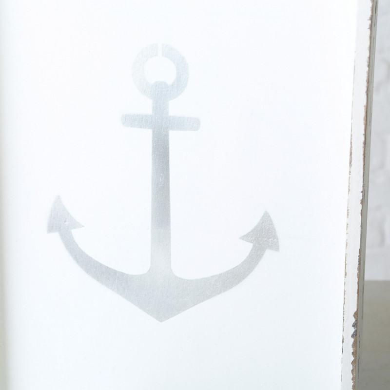 Deko Tablett ANKER Holz weiss Maritime Deko Print silber