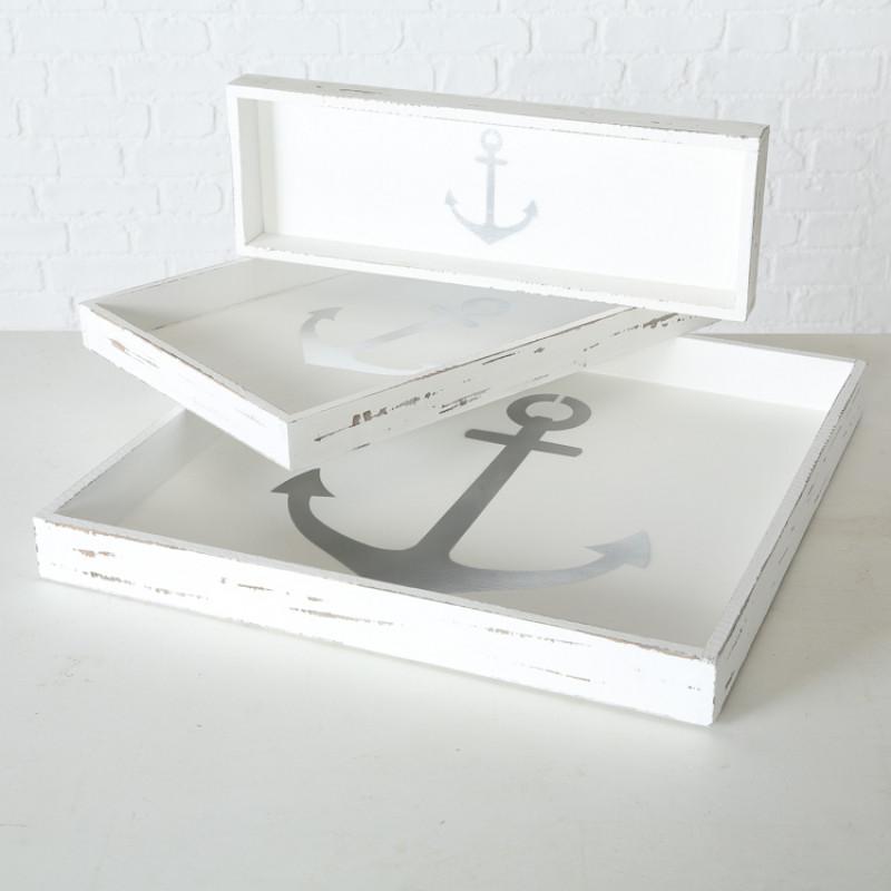 Deko Tablett ANKER Holz weiss Maritime Deko Set Trio