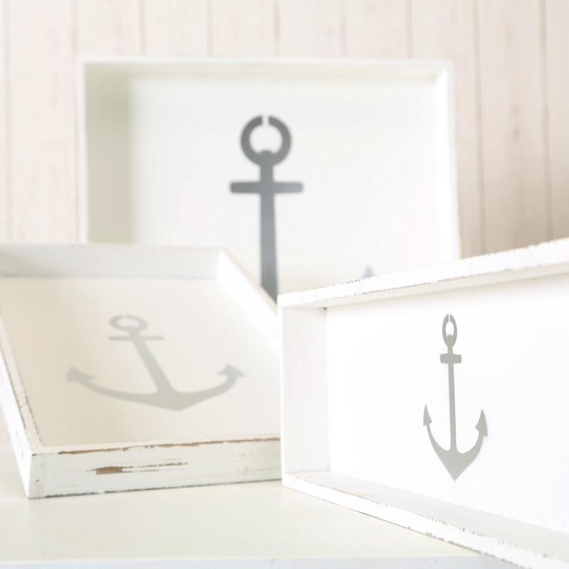 Deko Tablett ANKER Holz weiss Maritime Deko verschiedene grössen