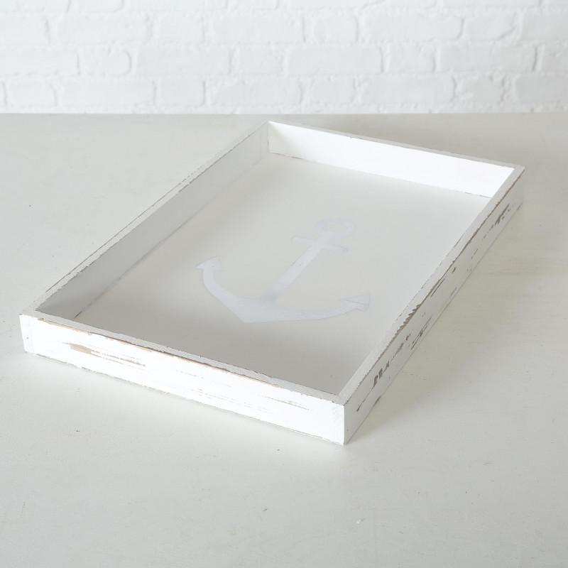 Deko Tablett Anker weiß aus Holz Maritim 30 cm rechteckig