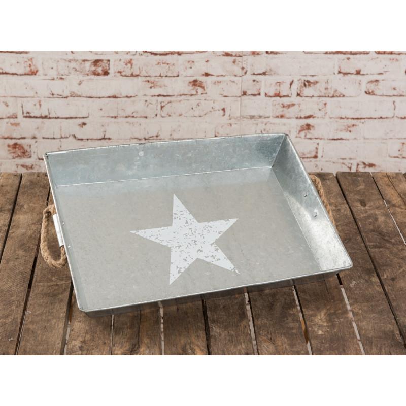 deko metall tablett jimmy aus metall in zink optik in grau mit grossem weissen stern. Black Bedroom Furniture Sets. Home Design Ideas