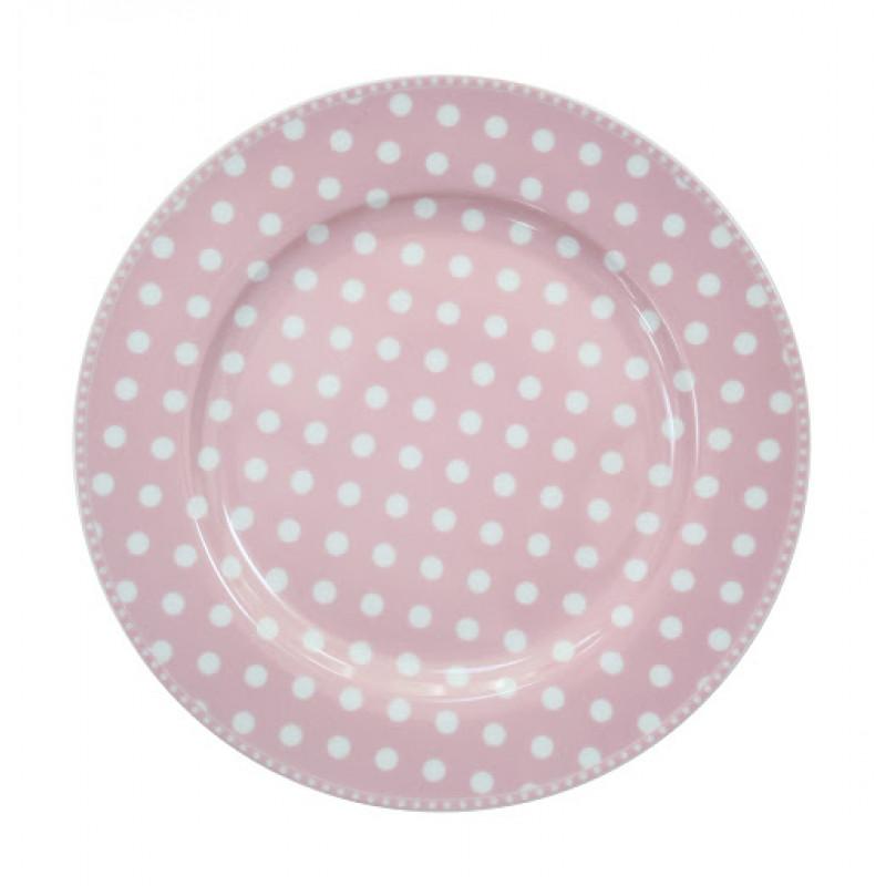 Essteller Dots rosa pink Punkte weiß Krasilnikoff Teller