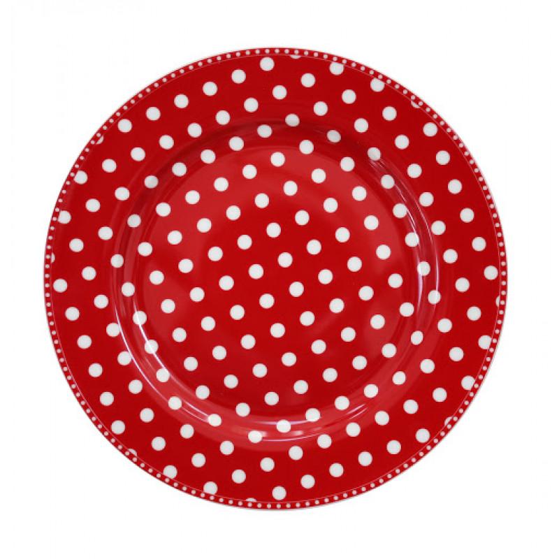 Essteller Dots rot Punkte weiß Krasilnikoff Teller