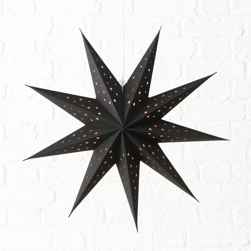 Faltstern Schwarz mit Punkten Weihnachtsdeko zum Hängen Stern 60 cm groß