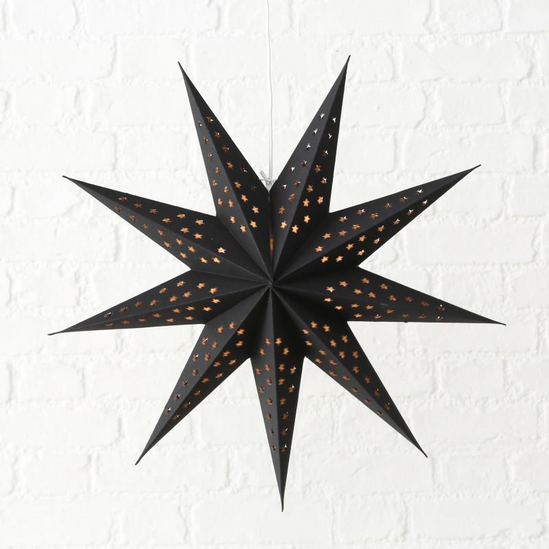 Faltstern Schwarz mit Sternen Weihnachtsdeko hängend Stern 60 cm groß