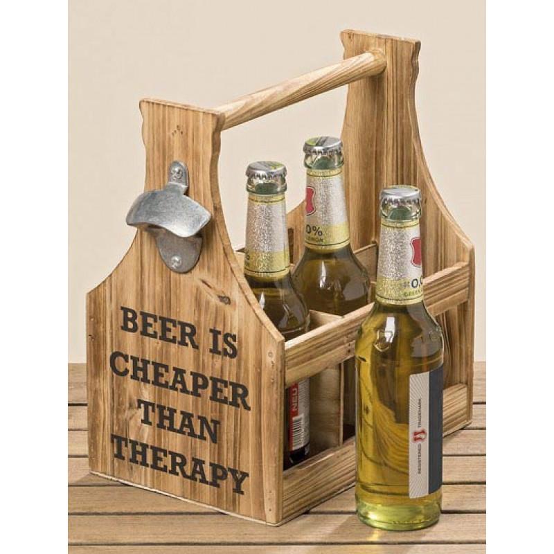 Flaschenhalter Beer Therapy fuer sechs Bierflaschen aus Holz mit Flaschenöffner aus Metall
