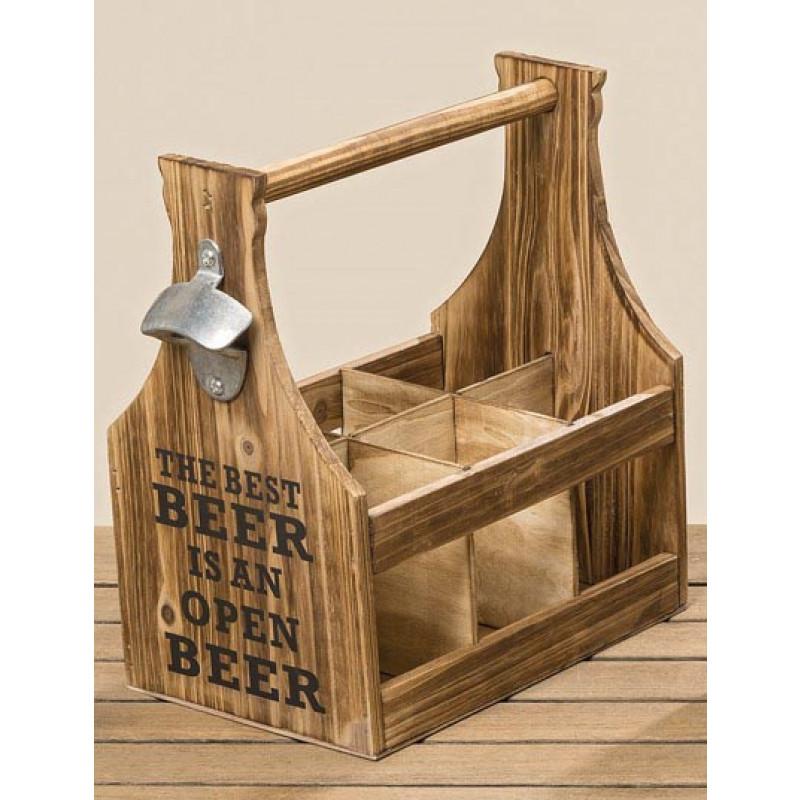Flaschenhalter Best Beer für 6 Flaschen aus Holz mit Flaschenöffner