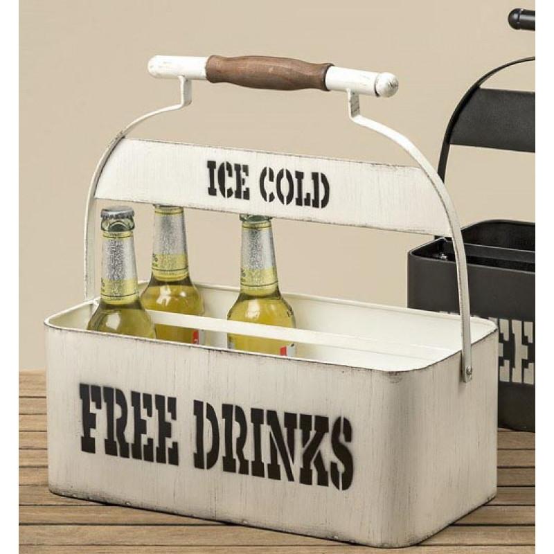 Flaschenhalter Free Drinks Ice Cold aus Metall in weiß mit Holzgriff