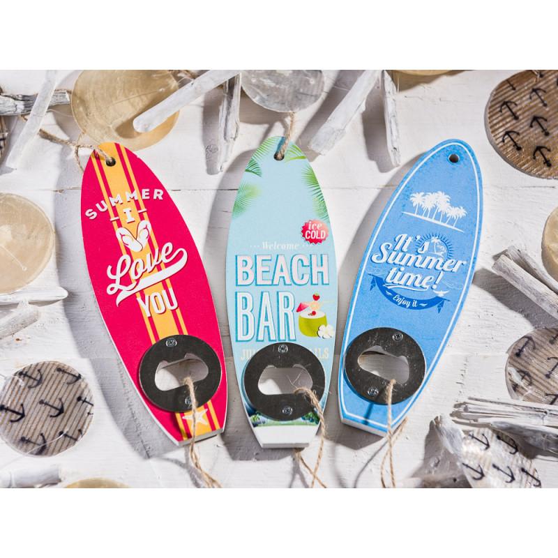 Flaschenöffner Surfbrett Blau Rot Blau Summer Time Beach Bar Kronkorken mit Deko Girlande Anker und Steifenen 180 cm Gold
