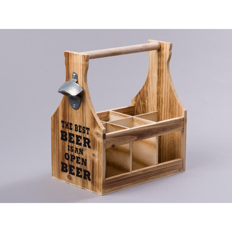 Flaschenträger aus Holz mit Flaschenöffner mit Spruch Best Beer für sechs Bier Flaschen