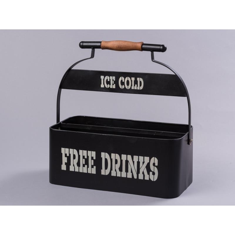 Flaschenträger Metall schwarz mit weißem Aufdruck Free Drinks Ice Cold für acht Bier Flaschen