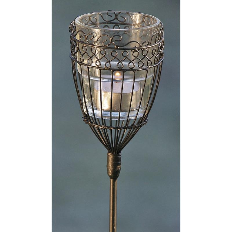 Gartenstab Windlicht Maja aus Metall Laterne auf Stab für Gartendeko