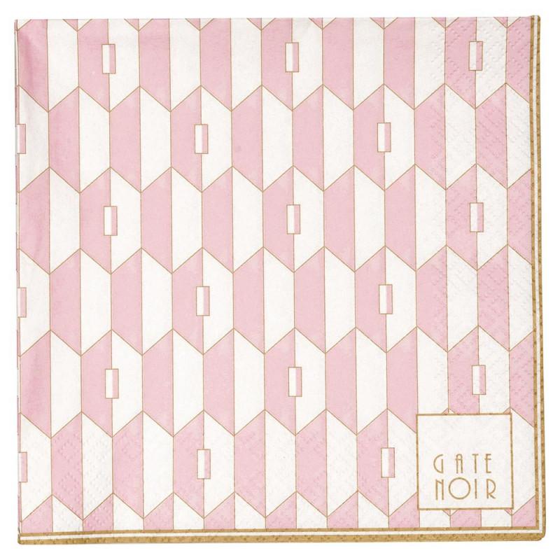 Gate Noir Servietten Aurelie Pale Pink groß Greengate Papierservietten rosa 16,5x16,5 cm