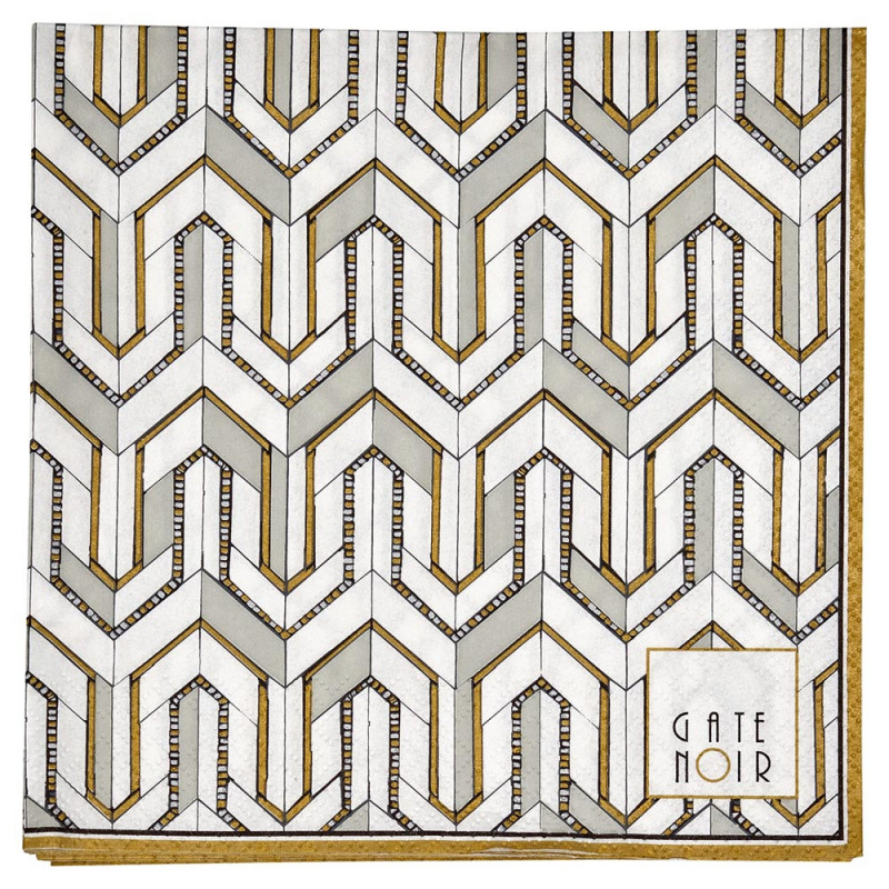 Gate Noir Servietten Madie weiß gold Greengate Papierservietten 16,5x16,5 cm
