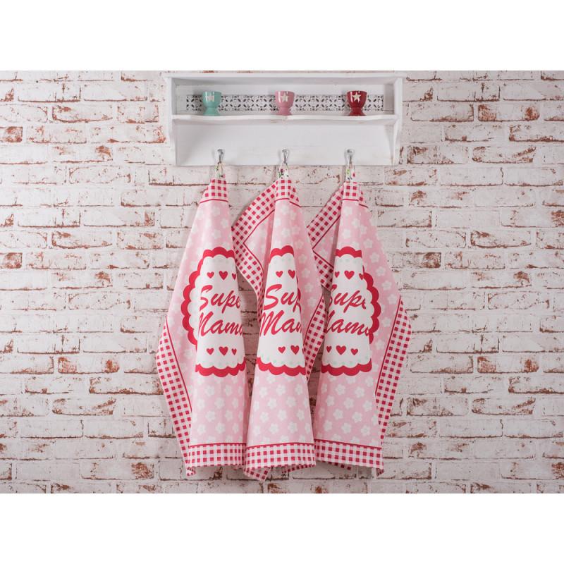 Geschirrhandtuch Super Mama rosa mit weissen Blumen und roten Herzen Krasilnikoff