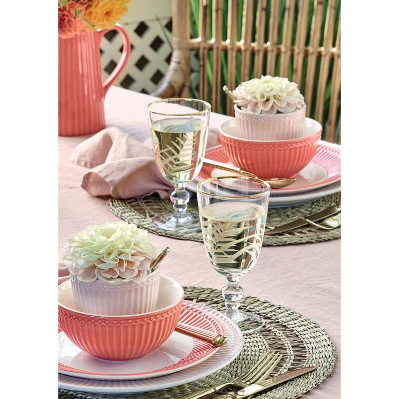 Greengate Alice Coral und Pale Pink Latte Cup Becher Schale Teller und Krug Keramik Geschirr in Koralle und Rosa Tischdeko mit Blüten