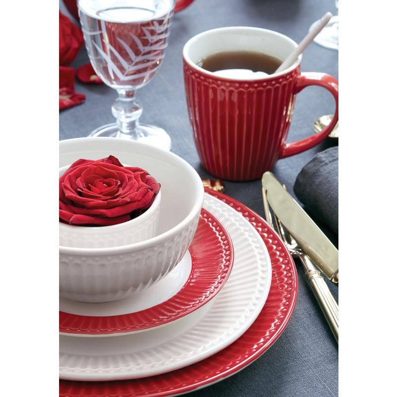 Greengate Alice Rot und Weiss mit Schale Teller Kuchenteller Essteller Becher und Mini Latte Cup Keramik Geschirr mit Rosen Deko