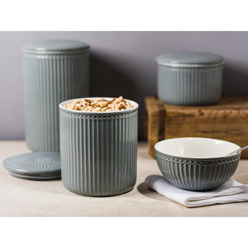 Greengate Alice Vorratsdose mit Deckel Grau Stone Grey Everyday Geschirr aus Keramik für Müsli Mehl Zucker mit Dichtung Schale Solwang und Unika Ziegelform Hygge
