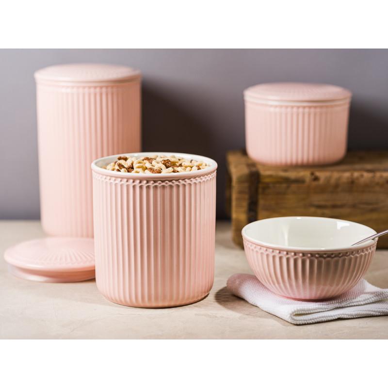 Greengate Alice Vorratsdose mit Deckel Rosa Pale Pink Everyday Geschirr aus Keramik für Müsli Mehl Zucker mit Dichtung Schale Solwang und Unika Ziegelform Hygge