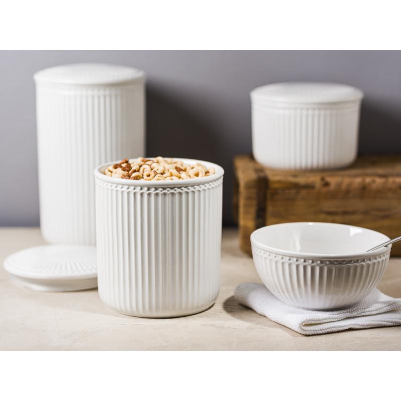 Greengate Alice Vorratsdose mit Deckel Weiss White Everyday Geschirr aus Keramik für Müsli Mehl Zucker mit Dichtung Schale Solwang und Unika Ziegelform Hygge