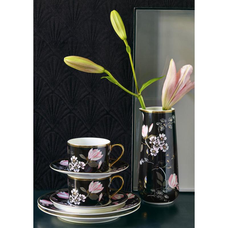Greengate Amelie Krug Tasse mit Unterteller und Teller schwarz rosa Blumen gemustert Gate Noir aus Porzellan Floral und edel
