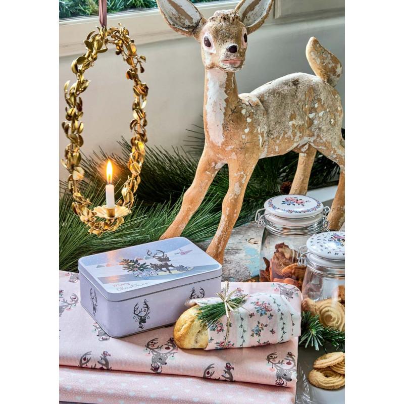 Greengate AVA Geschirrtuch mit Brot und DINA PENNY Tischläufer aus Baumwolle Serie in Weiss Rosa mit Blumen Muster und Bambi