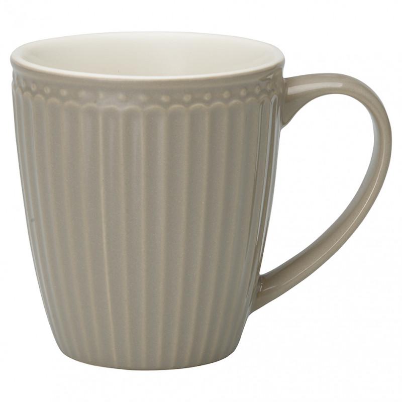 Greengate Becher ALICE Grau Kaffeebecher mit Henkel warmgrau Everyday Geschirr Warm Grey 400 ml Greengate Produkt Nr STWMUGAALI8306