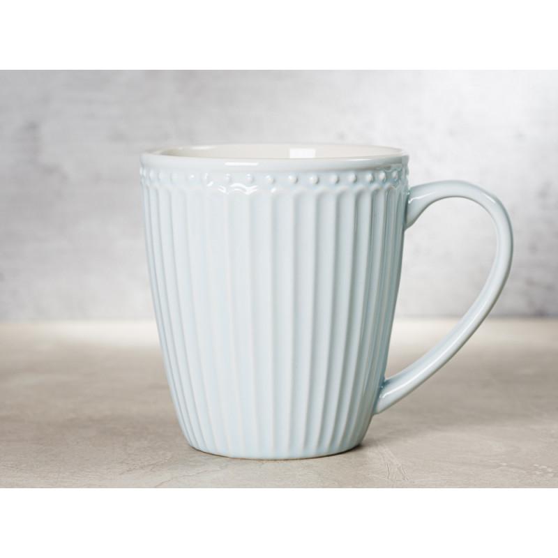 Greengate Becher ALICE Hellblau Kaffeebecher mit Henkel Everyday Keramik Geschirr Pale Blue 400 ml Rillenmuster Hygge für jeden Tag