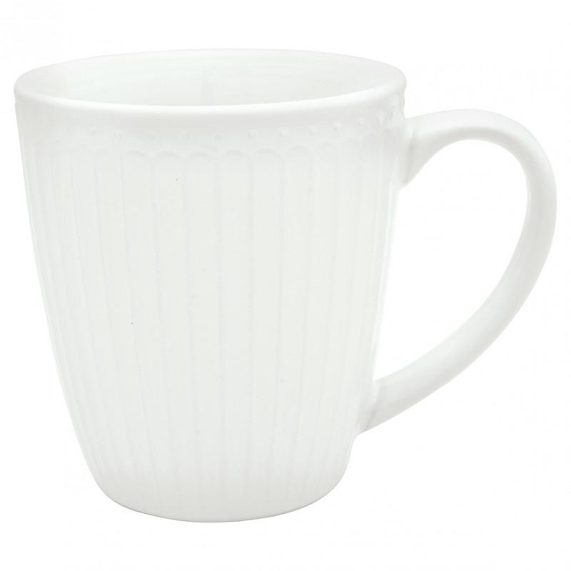 Greengate Becher ALICE Weiß Kaffee Becher mit Henkel Everyday Geschirr Kollektion 400ml Greengate Produkt Nr. STWMUGAALI0106