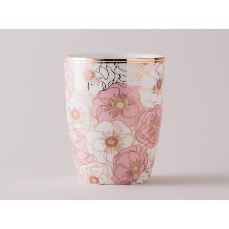 Greengate Becher Gate Noir Flori Pale Pink mit Blumen rosa
