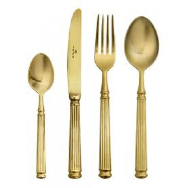 Greengate Besteck Set gold 4 tlg Gate Noir Essbesteck bestehend aus Messer Gabel Löffel und Teelöffel