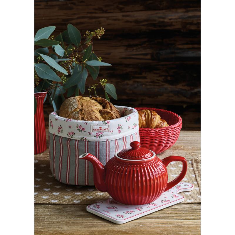 Greengate Brotkorb RILEY Grau Rot Gestreift aus Baumwolle und Brotkorb Rot Kunststoff Korb 22 cm mit Alice Teekanne und Avery Untersetzt