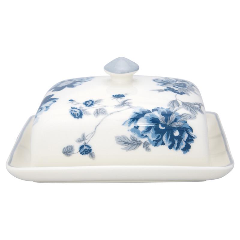 Greengate Butterdose CHARLOTTE Weiss Blau mit Blumen Porzellan GG Produkt Nr STWBUTSCHL0104