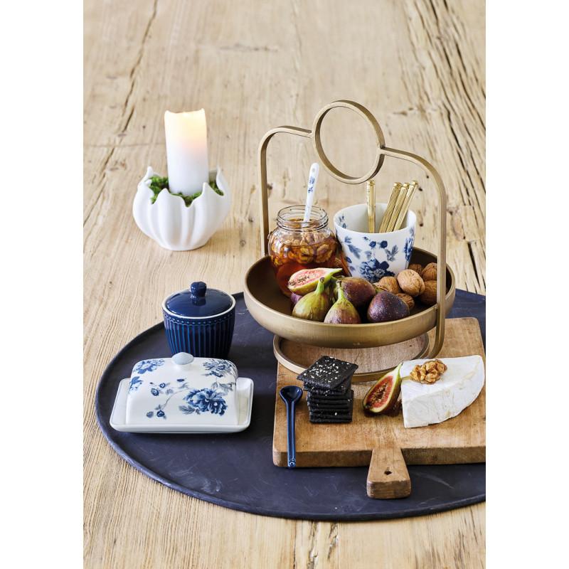 Greengate CHARLOTTE Butterdose und Latte Cup Becher Weiss Blau mit Blumen Porzellan Geschirr romantischer Hygge Style mit Alice Dose