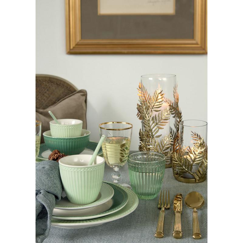 Greengate Everyday Alice in Pale Green Dusty Green Kuchenteller Teller Latte Cup Becher Schale Bestek Gold Geschirr Serie mit Rillen Design für jeden Tag