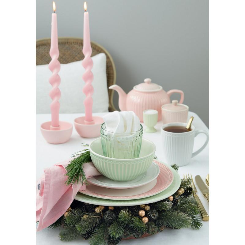 Greengate Everyday Alice in Pale Green Pale Pink und White Weiss Glas Schale Becher mit Henkel Teller Teekanne Eierbecher Zuckerdose Geschirr Serie mit Rillen Design für jeden Tag