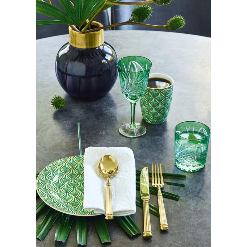 Greengate Fan Teller und Latte Cup Becher grün mit Fächer Design gemustert Gate Noir Kuchenteller Geschirr mit Goldrand aus Porzellan