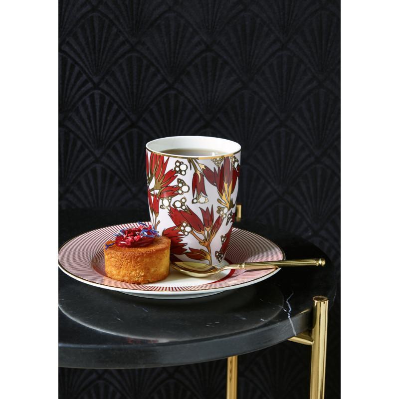 Greengate Florette Latte Cup Becher Bordeaux Rot weiß Blumen Design Gate Noir Tasse ohne Henkel Goldrand aus Porzellan Design Chic Edel mit CORINE Teller und Kuchen
