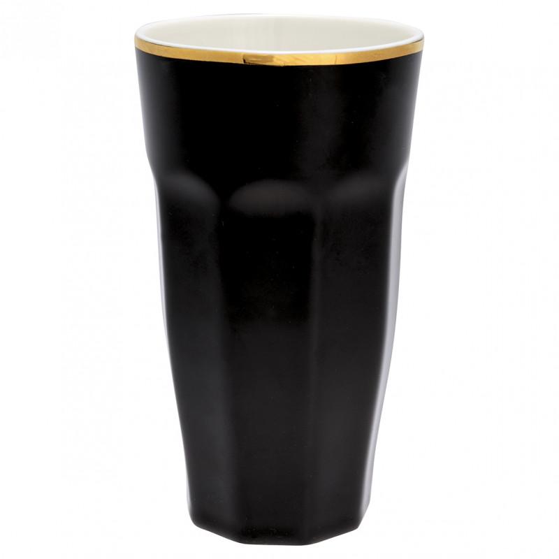 Greengate French Latte Becher schwarz mit Goldrand 400 ml aus Porzellan
