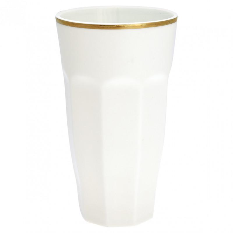 Greengate French Latte Becher weiß mit Goldrand 400 ml aus Porzellan